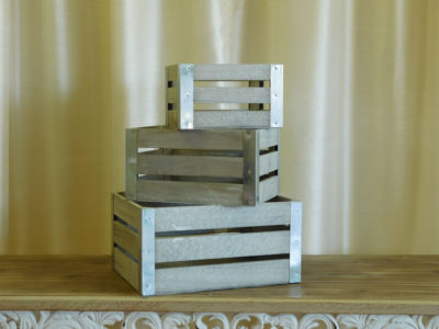 3 Small Whitewashed Crates for event rental