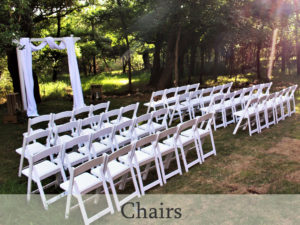 Chair rental including folding chairs and settee for special occasions and weddings