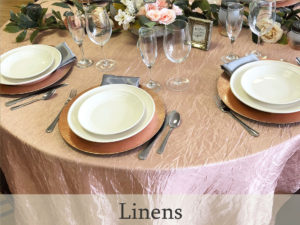 Linen rentals including table cloths, cloth napkins and runners for special occasions and weddings