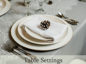 Table settings such as flatware rental and setup for events and weddings