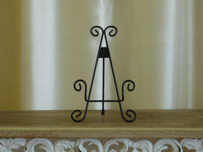 Black Iron Table Easel for special occasion and wedding rental