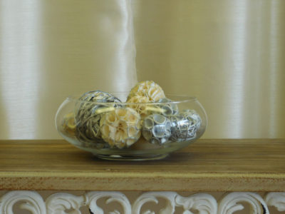 Bowl of Decorative Balls for event rental
