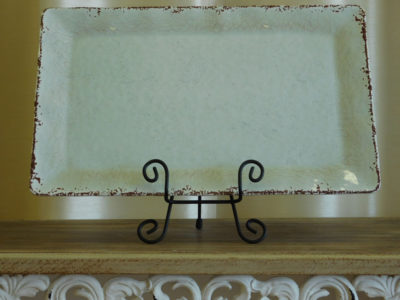 Distressed Ivory Serving Platter for Catering Rental