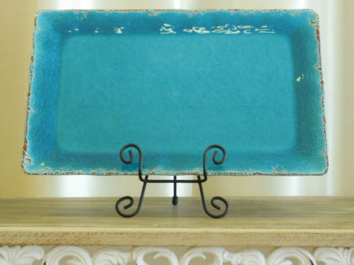Distressed Turquoise Serving Platter for event catering rental