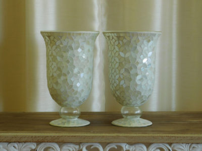 Large Ivory Mosaic Vase for wedding and special event rental