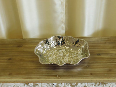 Large Metallic Silver Serving Dish for wedding and event catering rental
