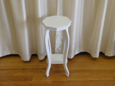 White Octagon end table for rent